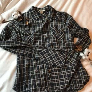 Sans Souci windowpane plaid button down